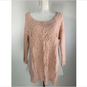 Knitted and Knotted Sweater Pink Sylt Pointelle